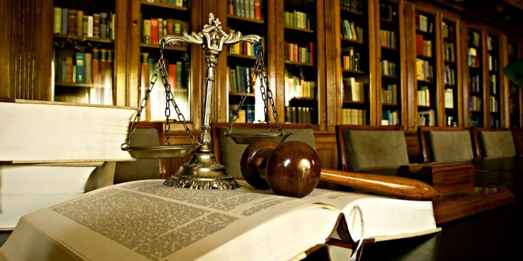 Law books in a law library