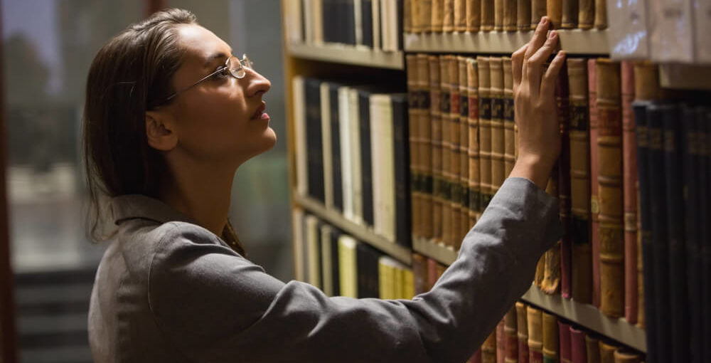 A law student in a law library